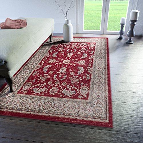 Tabriz Orientalische Teppiche (Traditioneller Klassischer Teppich für Ihre Wohnzimmer - Rot Beige Creme - Perser Orientalisches Antik Ziegler Ornamente Top Qualität Pflegeleicht