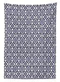 Yeuss Arabische Tischdecke, Antikes orientalisches Damast-Muster, Florales Ornamente, Vintage-Design, Esszimmer, K¨¹Che, rechteckig, Indigo Wahite, 60