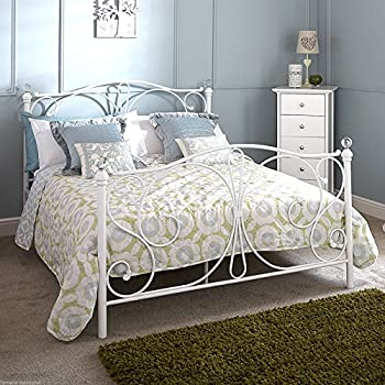 hf4you panache classic metal bed frame 4ft6 double white frame only