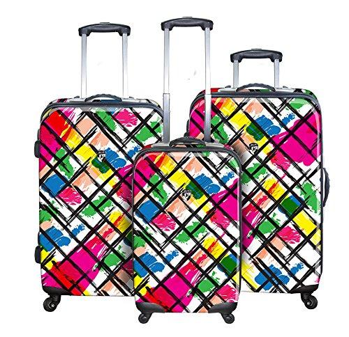 Sets de Bagages, valises - Première Classe Valise Rigide Set 3 pièces - Heys Novus Art Brush Strokes Bagages à Main + Trolley avec 4 Roues Mèdias + Trolley avec 4 Roues Grand