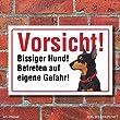 """Vorsicht """"Bissig"""", Dobermann, Hund, Schild, Hinweis, 3 mm Alu-Verbund Motiv 5 300 x 200 mm"""