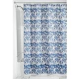 InterDesign Floral Batik Duschvorhang aus Stoff,  183 x 183 cm, blau