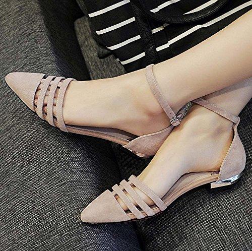 L&Y Donne Punta di punta della cinghia della cinghia della caviglia Summer Sandali della nuova pelle di pecora piccola del tacco basso dell'inarcamento Beige