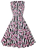 IHOT Women's Vintage 1950s Classy Rockabilly Retro Floral Pattern Print Cocktail Evening Swing Party Dress (L, Black Stripes Pink)