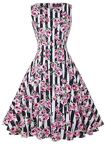 0s Retro Vintage Rockabilly Kleid Partykleider Cocktailkleider (M, Schwarze Streifen Pink) (Schwarze Und Weiße Streifen In Der Halloween Kostüme)