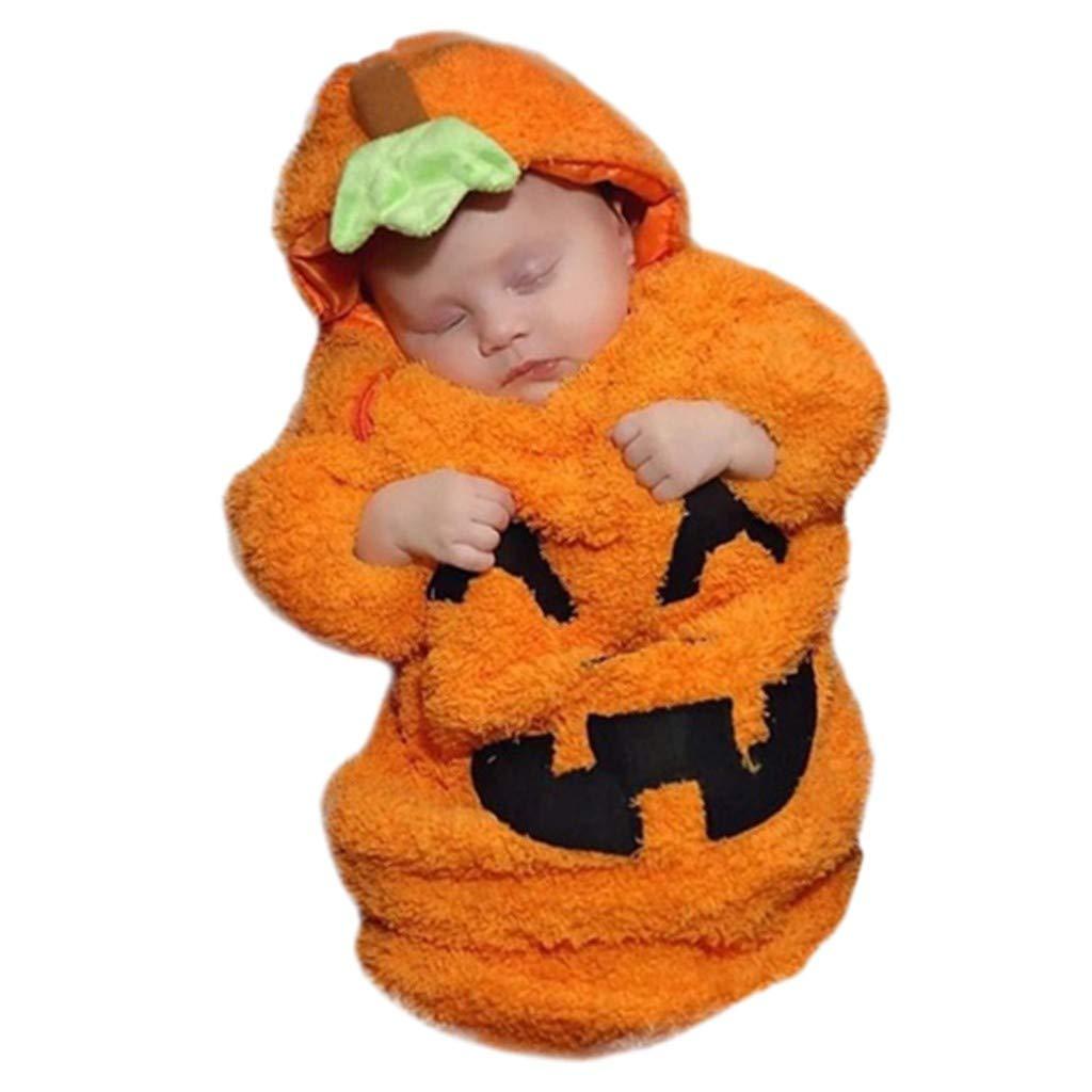 Baiomawzh Ropa Halloween Bebe Niñas Niños Capucha Calabaza Manta Envolver Bolsa de Dormir Saco Envolver Hooded Ropa Invierno Bebe
