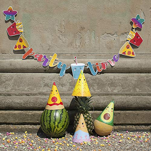 On The Wall Food Character Party Hats - Pineapple  Pizza  Avocado and Ice Cream