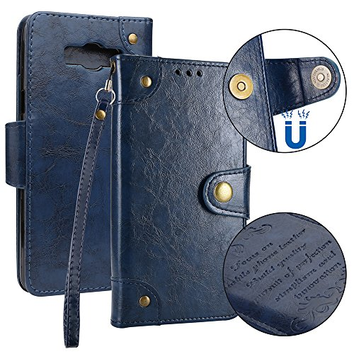 Danallc for Samsung Galaxy J7 (2016) J710 Genuine Leather Wallet Case Cover, Flip Stand, Card Slot, Stylish, Blue