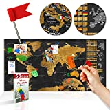 decomonkey | Rubbelweltkarte Pinnwand | 90x45 cm | Weltkarte zum Rubbeln mit Fahnen/ Nationalflaggen | Rubbelkarte | FULL HD | Rubbellack | Rubbelbild | Mehrfarbiger Rubbellack | Scratch Off World | Travel Map | Landkarte | inkl. 50 Markierfähnchen | Pinnadeln
