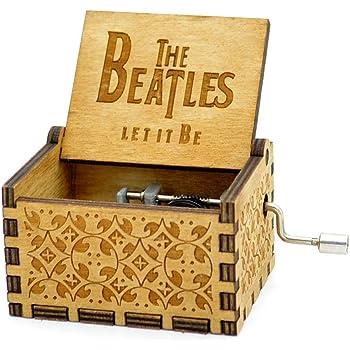Personalisierte Hand Kurbel Holz Spieldose Spieldosen The Beatles - Let It Be