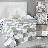 PROHEIM Wende-Tagesdecke Patchwork 220 x 240 cm ALS Bettüberwurf oder Sofaüberwurf Decke in Verschiedenen Designs Schlafdecke Plaid mit Thermopolyester, Design:Sterne
