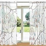 ALAZA Traumfänger und Baum AST Printed Sheer Fenster und Tür-Vorhang 2 Panels 55