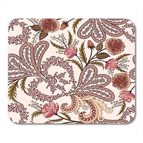 Mauspads Beige kompliziertes durchbrochenes Muster mit Paisley-Aquarell-Rosen in den rosa und Burgunder-Tönen auf heller Mausunterlage für Notizbücher, Tischrechner-Mausunterlagen, Büroartikel Paisley-rosen