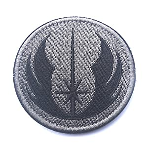 KingNew Correctifs badges, Star Wars Jedi Fermeture brodé Patch Airsoft Paintball (Gris)