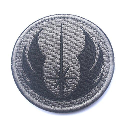 KingNew Aufnäher, gesticktes Star Wars Jedi-Abzeichen mit Befestigungsmittel, für Airsoft und Paintball (grau)