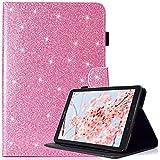 Coque Samsung Galaxy Tab E 9.6 avec Stylet Gratuit, Bling Glitter Cuir PU Premium, Antichoc Supporter Smart Cover pour Samsung Galaxy Tab E 9.6-Pouce SM - T560/SM- T561, Rose