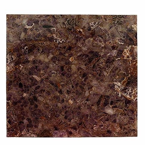 Breiten 61cm Edelstein handgefertigt natürlicher Amethyst Halbedelsteine quadratische Form Kaffee Tisch Top
