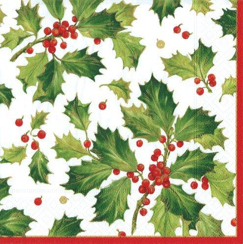 Papier Servietten Urlaub Party Christmas Party Supplies Dekorationen Servietten Holly Traditionell 40 Stück mehrfarbig - Traditionelle Holly
