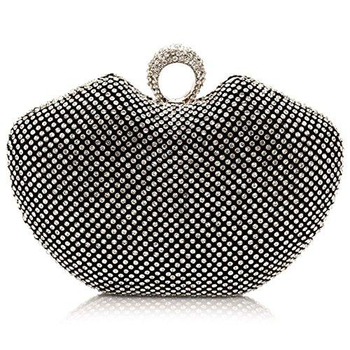 ERGEOB® Donna Clutch Clutch cristallo sacchetto di sera per Party Festa matrimonio Blingbling stile nero