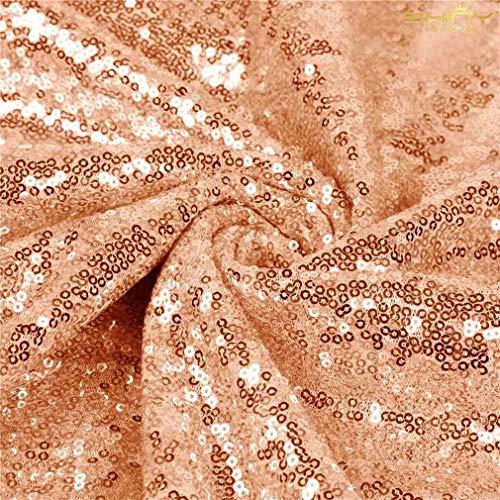 ShinyBeauty Paillettenstoff 2 m Rosegold Stretch Paillettenmaterial Stoff Paillettenstoff durch den Hof Glitter Kulisse C0104 (Durch Stoff Hof Glitter Den)