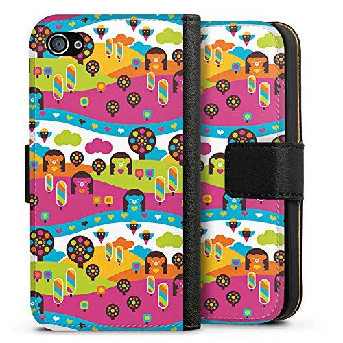 Apple iPhone X Silikon Hülle Case Schutzhülle Wolken Herzen Süßigkeiten Sideflip Tasche schwarz