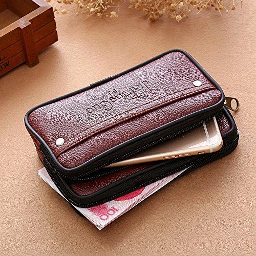 Amazingdeal365 Nuovi Uomini Waist Pack Borse Pu Pelle Casual Piccola Cintura Portafogli Titolare Del Telefono (Marrone) Marrone