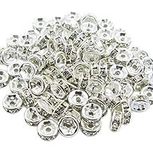 TOAOB placcato argento, piccoli, 8 mm, colore: trasparente, AB Spacer Beads Rondelle con brillantini, confezione da 20 pezzi