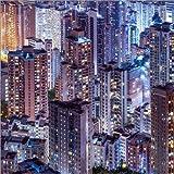 Poster 30 x 30 cm: Gebäude der Hongkong Skyline bei Nacht