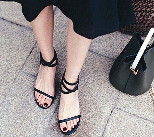 NobS Sandales à talons roux en cuir féminin en cuir Sandales à talons hauts Sandales à talons roux Black