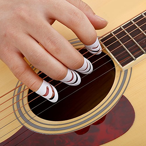 Fingerpicks Thumbpicks Schutz Set Kunststoff für Gitarre Bass Ukulele Mandoline 4 Stück -