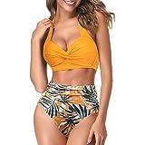 AOQUSSQOA Women Two Piece Tankini Swimsuits High Waist Halter Vintage Bikini Set Ladies Swimwear