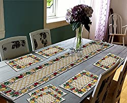 Glamkart Jacquard Fabric Handloom Table Mats With Runner
