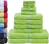 GREEN MARK Textilien 10 TLG. FROTTIER Handtuch-Set mit verschiedenen Größen 4X Handtücher, 2X Duschtücher, 2X Gästetücher, 2X Waschhandschuhe | Farbe: Apfel grün | Premium Qualität