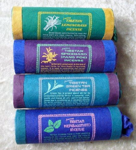 Tibetano incenso nepalese/tibetano spikenard, citronella, menta erbe tè verde & auroshikha–confezione da 4
