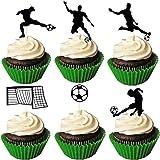 JeVenis 24 Stück Fußball Cupcake Topper Fussball Cupcake Topper Fussball Cupcake Topper Sport Kuchen Dekoration für Fußball Party Dekoration Sport Party Dekoration