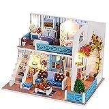 elegantstunning Legno Dollhouse Miniature DIY House Kit Cute Room with LED mobili e Copertura Girl Gift Toy Modello Villa delle Bambole di Natale