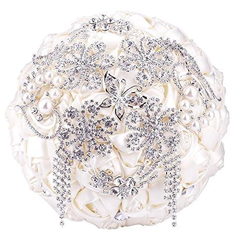 SOLEDI Bride Bouquet Bride Holding Bouquet with Crystal Diamond Ribbon