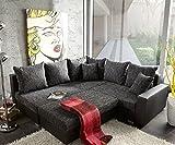 Couch Lavello mit Hocker Ecksofa L-Sofa (Eckcouch Links mit Hocker, Schwarz/Schwarz)