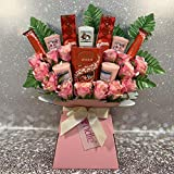 Large Yankee Candle Selection Bouquet Gift Hamper with Chocolates & Silk Pink Roses in Presentation Box (Lindt Lindor & Malteser Truffles)