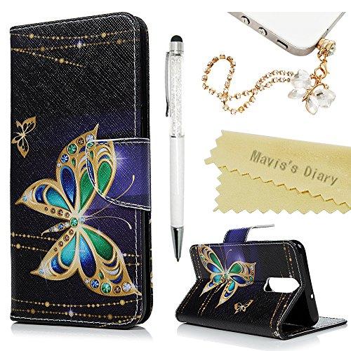 Huawei Mate 10 Lite Hülle Case Mavis's Diary Malen Leder Tasche Handyhülle Flip Cover Skin Standfunktion Schale Stoßdämpfend Bumper Holster Magnetverschluss Brieftasche Schutzhülle-Gold Schmetterling