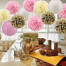 Niceclub Pompones de papel de seda, flores de papel, linternas de papel, decoración