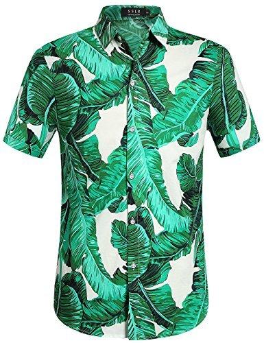 Blätter Button Down Hawaii Art Kurzarm Freizeit Hemd(Small, Grün) (Halloween Hawaii-shirt)