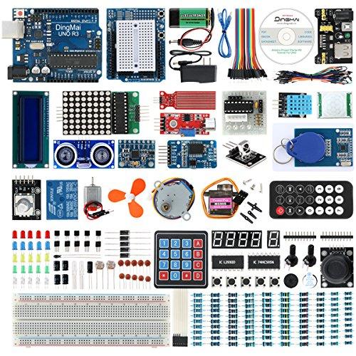 DingMai UNO R3 Starter Kit mit ATmega328P ATMEGA16U2 Mikrocontroller Der Mehrsprachigen Umfassenden Anleitung und Professionell Unterstützung für Arduino UNO Projekt (49 Teile)