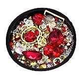 Juego de piedras de estrás para decoración de uñas, cuentas de cristales brillantes, decoración de uñas, cristales y gemas de diamante (rojo)
