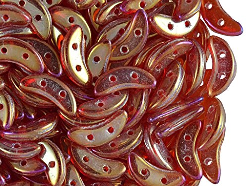 50pcs 3x10mm Perlen Crescent® durch CzechMates® - Tschechisch Gepresste Glasperlen in Form von flachem Halbmond mit zwei Löchern, Luster Iris-Siam Ruby