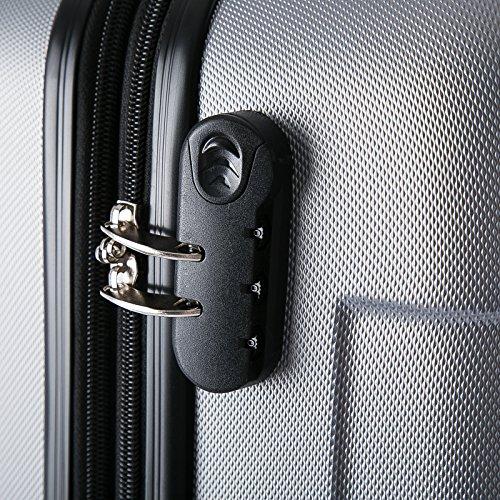 WOLTU RK4204sz-M-a Reisekoffer Koffer Trolley Hartschale mit erweiterbaren Volumen , 4 Rollen leicht Hartschale mit erweiterbaren Volumennkoffer Handgepäck , Schwarz M (56 cm & 42 Liter) - 4