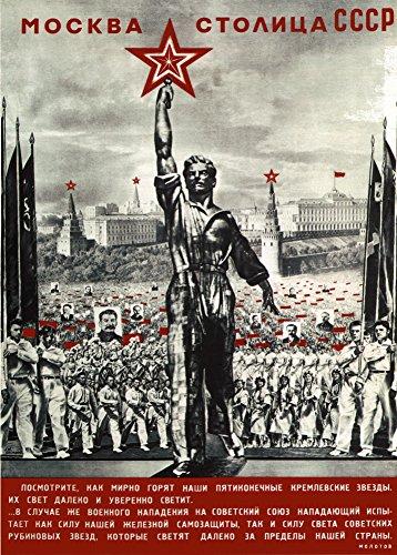 World of Art Kunstdruck/Poster, russischer Konstruktivismus, Vintage-Stil, Motiv Moskau ist die Hauptstadt der UdSSR, Sowjetunion 1940, russischer Schriftzug, 250g/m², glänzend, A3