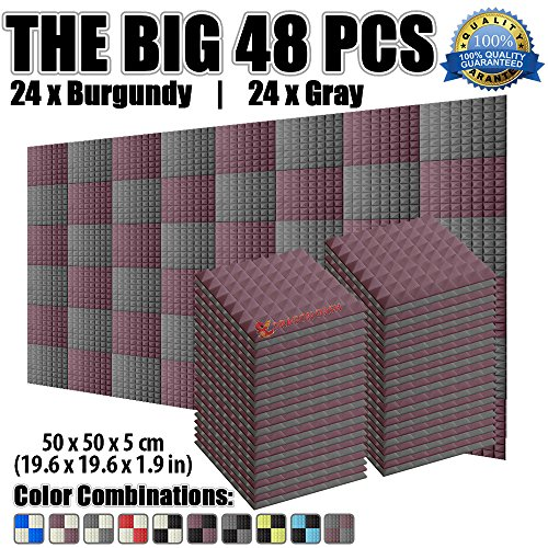 super-dash-48-pack-of-50-x-50-x-5-cm-pyramid-burgundy-and-gray-acoustic-home-studio-soundproof-treat