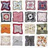 HBselect 16 pezzi Foulard Donna di Seta 50x50 cm Multiuso Sciarpa Donna Fantasia Fazzoletti da Collo Multicolore Bandana Donna