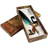 Set per scrittura calligrafica con 5 pennini di ricambio, inchiostro, calamaio e penna, regalo blu
